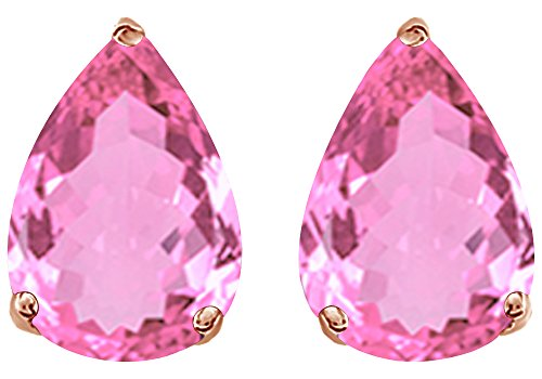 Simulated Pink Tourmaline Pear Shape Stud Earrings In 14K Rose Gold Over Sterling Silver (5 Ct)