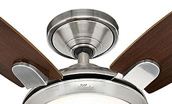 132 cm Hunter Fan Contempo Nichel Ventilatore da soffitto con Luce 240 W Spazzolato