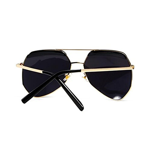 Decoración Gafas Redonda de Clásico Transparent WYYY Protección Polarizada Hombres Luz 100 1 Retro Poligonal UV Protección gray Anti sol Sra Cara gafas UVA Black Color Solar ztBt5fqwO