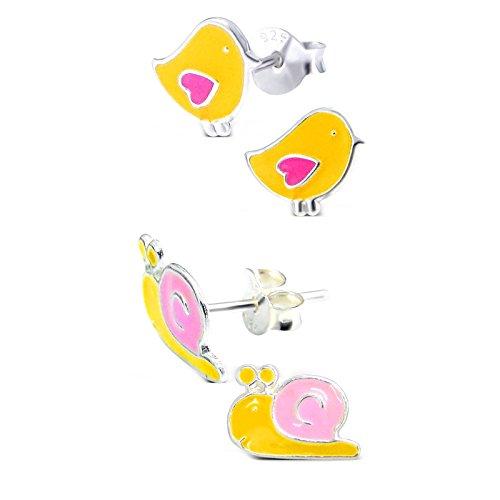 SL Silver Juego de kinderohr anillos pequeño pájaro y caracol 925plata en caja de regalo
