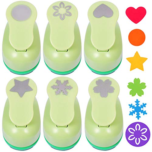 UCEC 6 Pcs Paper Punchers, 1 Inch Paper Punch Handmade Hole Scrapbooking Punches, with Different Shape Crafting Designs for Kids for $<!--$25.99-->