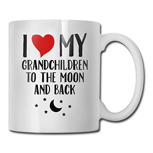 Riokk Az I Love My Grandchildren to The Moon and Back 11oz Coffee Mug Funny Cup Tea Cup -