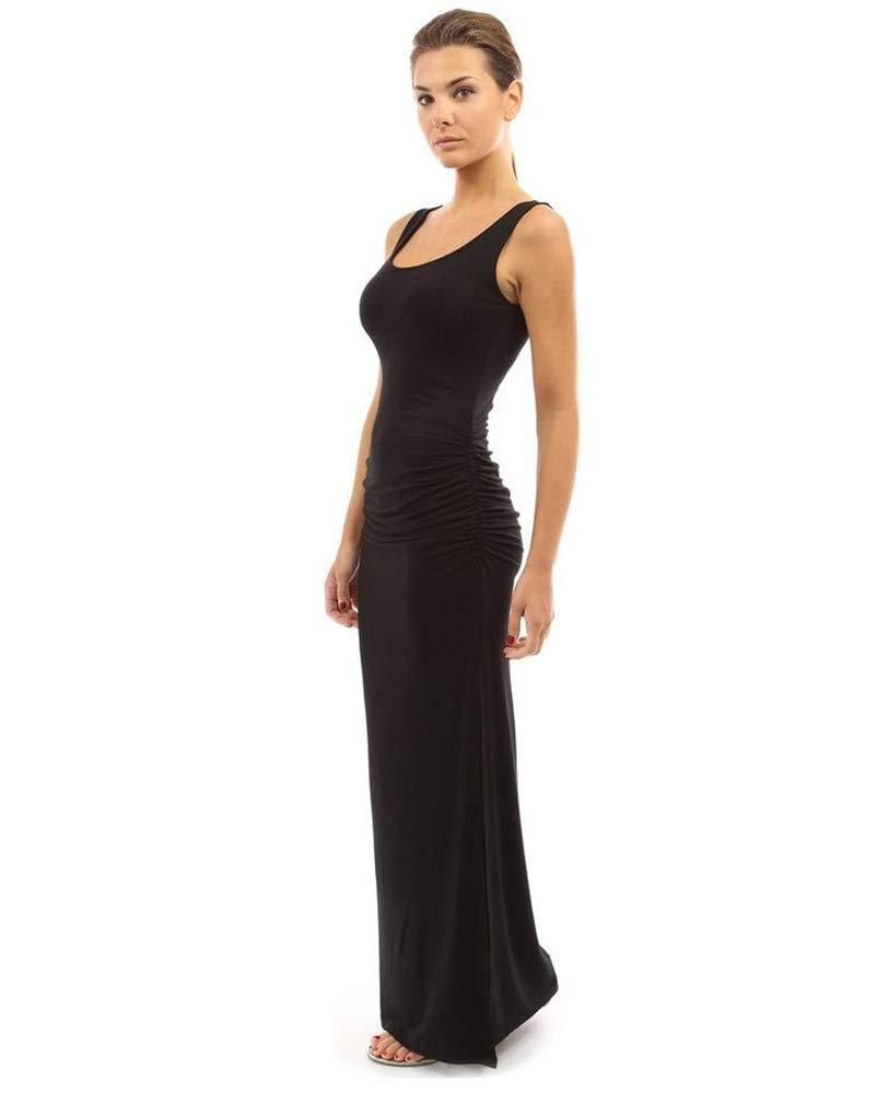 Dress Round Neck Slim Pleated Skirt Waist Pocket Hip Sleeveless Swing Open Fork, Dress Summer, Black,XL