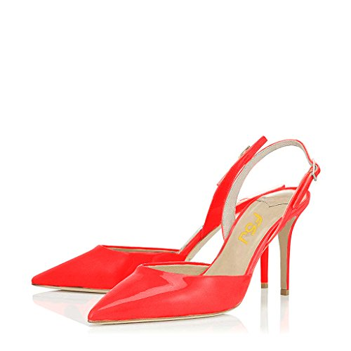 FSJ Women Pointed Toe Pumps Slingback Stilettos Heels Sandals Ankle Strap Shoes Size 7 Red - Red Pointed Toe Slingback Shoes