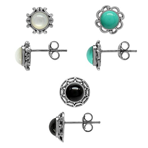 3-Pair Set Mother Of Pearl, Created Turquoise&Created Onyx Sterling Silver Filigree Flower Stud Earrings
