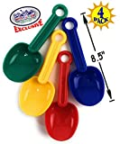 "Matty's Toy Stop 8.5"" Plastic Rounded Scoop Sand Shovels for Kids (Red, Blue, Green & Yellow) Complete Gift Set Party Bundle - 4 Pack"