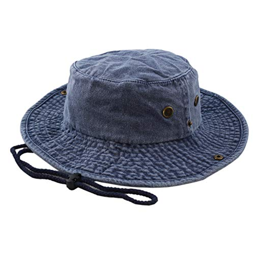 THE HAT DEPOT 100% Cotton Stone-Washed Safari Wide Brim Foldable Double-Sided Outdoor Boonie Bucket Hat (L/XL, Pigment - Blue) Cotton Big Brim Hat