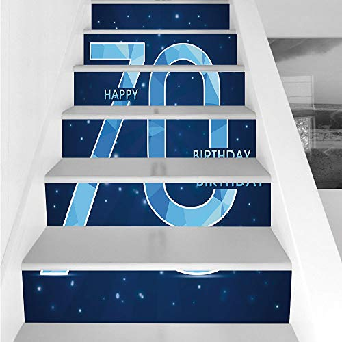 Stair Stickers Wall Stickers,6 PCS Self-adhesive,70th Birthday Decorations,Stars Space Theme with Geometrical Seventy Party,Dark Blue and Sky Blue,Stair Riser Decal for Living Room, Hall, Kids Room De for $<!--$26.66-->