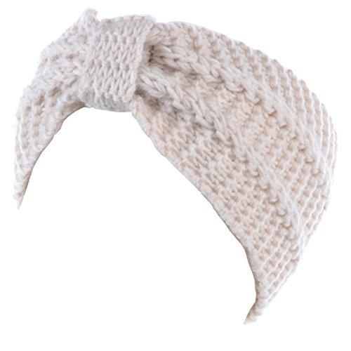 BYOS WomensWinter Fashion Cute Bow Crochet Knit Headband (White Crochet Headband)