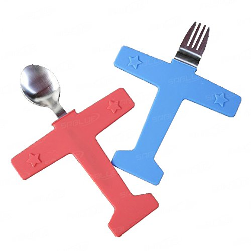 SABLUE Creative Children's Dinnerware Feeding Airplane Spoon & Fork Set, Stainless Steel & Silicone Tableware (03-Airplane)