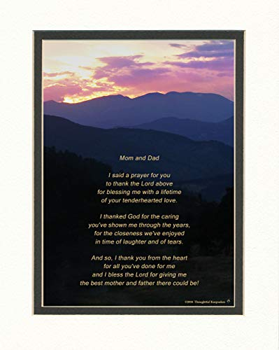 - Dad and Mom Gift for Your Parents with Thank You Prayer Poem. Mt Photo, 8x10 Double Matted. Father and Mother - Parents Gift for Christmas, Wedding, Great Appreciation Gift.