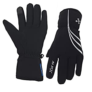 Waterproof Winter Gloves for Men and Women, Windproof Touchscreen Thermal Warm Gloves Mountain Made Outdoor Gloves for Running, Cycling (Black-Silver, XL)