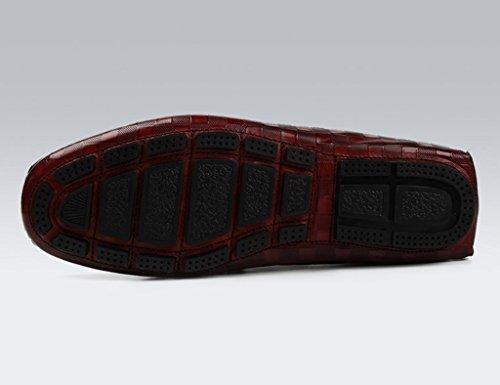 Rosso Pelle 5 dimensioni uomo Estate HWF in Nero EU38 da Uomo Colore Scarpe Primavera Scarpe singole Scarpe Daily Piselli in Lounger Scarpe casual UK5 pelle Scarpe traspiranti Vino 4wtpB