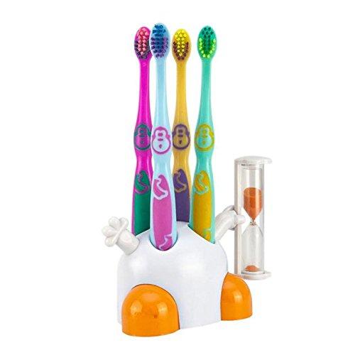 Set Kinderzahnbürsten mit Zahnbürstenhalter weiß / orange mit Sanduhr zur Zahnpflege Ihrer Kinder