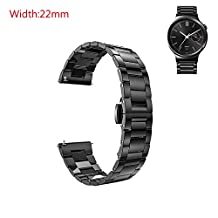 GOOQ Stainless Steel 22mm Push Button Hidden Clasp Watch Band for Moto 360 2nd Gen 46mm,LG G Watch W100,Urbane W150,R W110, Samsung Gear 2 R380,Neo,Live,Pebble Time Steel,Classic,Asus Zenwatch WI500Q, 2nd WI501Q Watches and any 22mm Normal Watches (Black)
