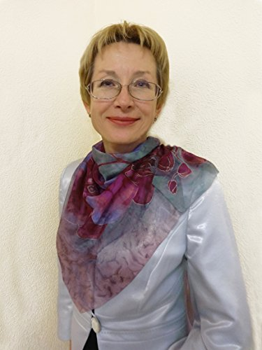 Women's Silk Scarf Hand Painted Square Chiffon Shawl Burgundy Lavender Gray by Pure Elegance