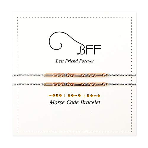 BFF Morese Code Bracelets Best Friend Friendship Gift for 2 Rose Golden Bead Silver String Women Girls
