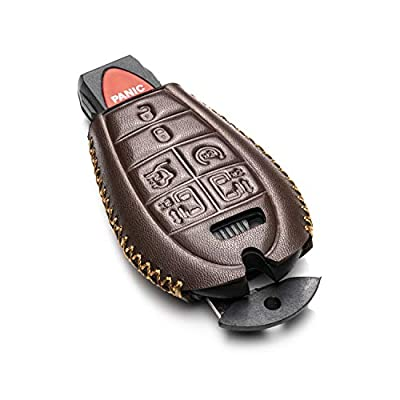 Vitodeco Genuine Leather Smart Key Fob Case Cover Protector with Leather Key Chain for 2013-2020 Dodge Grand Caravan (7-Button, Brown): Automotive