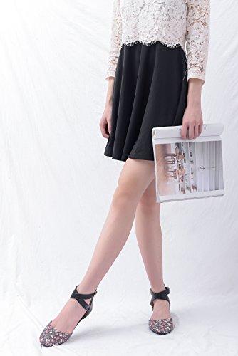 Mila Dam Kay Nytt Mode Kvinna Spetsig Tå Fotleden I Blomtryck Dorsay Lägenheter Svart / Fl