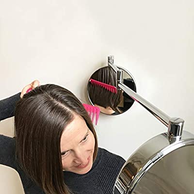 360 Degree Mirror - Full View of Your Head | Trim and Fade Hands Free | 1x & 5x Magnifying | Hair Cut | Neck Shave | Self Groom | Swivel Adjustable | Wall Mounted | Dual Front & Rear Vanity Mirror