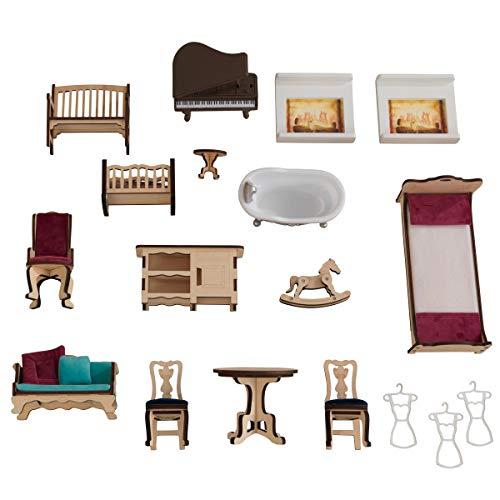 41VpQ0hlmEL - KidKraft So Chic Dollhouse with Furniture