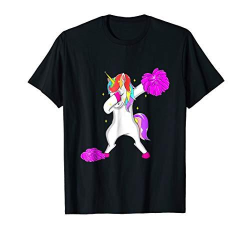 Cheerleader Dark T-shirt - Cheerleader Dabbing Unicorn T-Shirt Girls Women Teens Gift