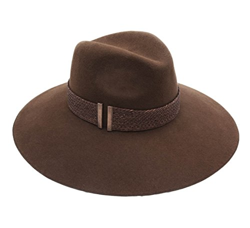 Marzi Women's Eliss Leather Floppy Hat Size M Brown by Marzi