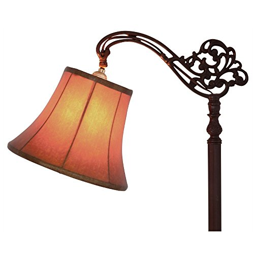 Upgradelights Tan 12 Inch Leather Bell Lamp Shade with Uno Fitter (8x12x8.5) -