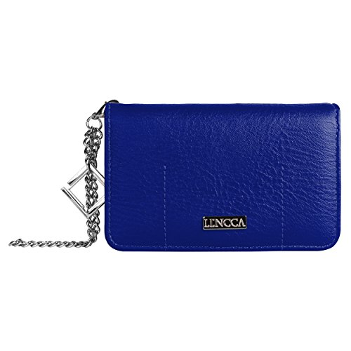 Lencca Kymira II Vegan Leather Smartphone Clutch Wallet Purse with Removable Chain Wrist Strap - Royal/Sky Blue