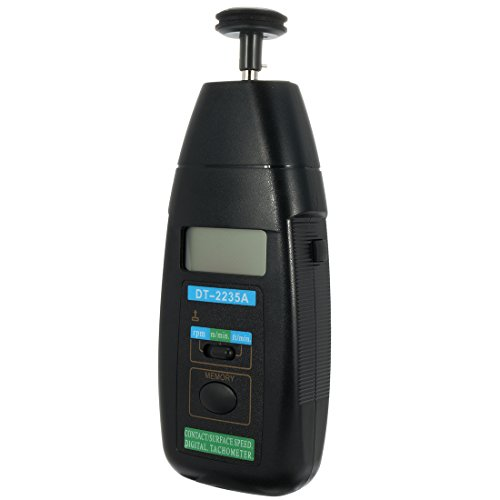 uxcell DT-2235A Contact Speed Digital Tachometer and Auto Ranging LCD Display Tach Motor Small Engine Speed RPM Gauge Meter