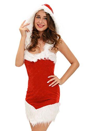 [JE Womens Sexy Beauty Hooded Dress Role Play Christmas Costumes] (Leg Lamp Dress Costume)