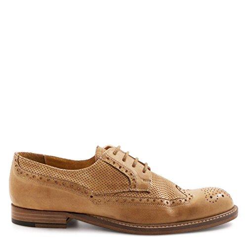 LEONARDO À Cuir Chaussures Beige 25253PAPUACUOIO SHOES Femme Lacets rqxnWUArSw