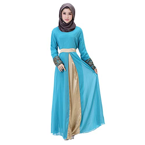 YKARITIANNA Women Long Maxi Dress Dubai Patchwork Gown Islam Abaya Muslim Clothing Sky Blue ()