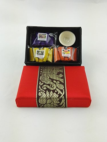 Thai Cone Aroma Incense Aroma Spa in Thai Silk Box as Gift Set