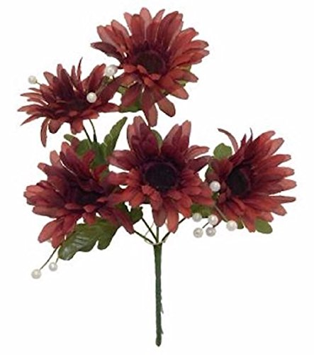 5 Gerbera Daisy Bush Burgundy Wine Silk Wedding Bouquet (Gerbera Daisy Bush)