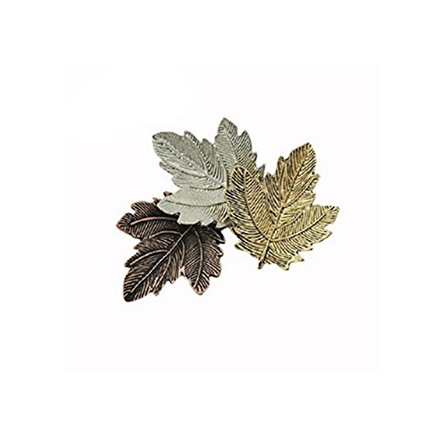 METTU Three Color Retro Maple Leaf Brooch Pins Vintage Corsage Pin for Unisex