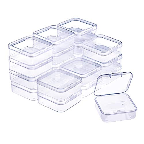 (WXJ13 20 Pack Small Rectangle Clear Plastic Box Bead Storage Box with Flip Cover (2.1 x 2.1 x 0.8 Inch))