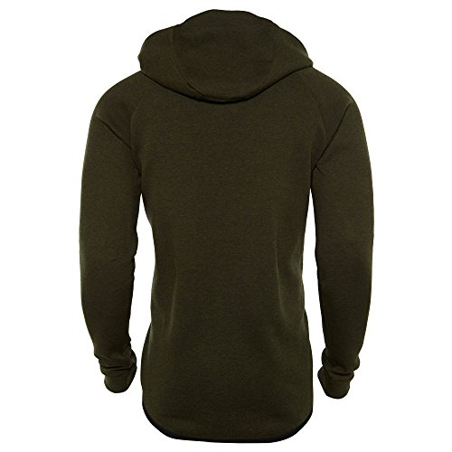 Nike M Nsw Tch Flc Wr Hoodie Fz Sudadera, Hombre Verde (Dark Loden / Htr / Black)