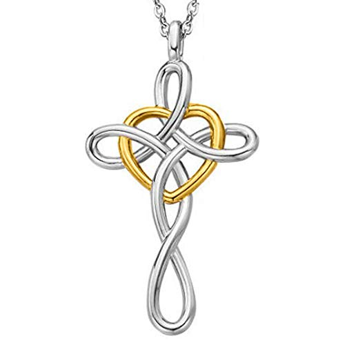 (Jude Jewelers Stainless Steel Love Knot Heart Shaped Cross Pendant Necklace (Silver & Gold))