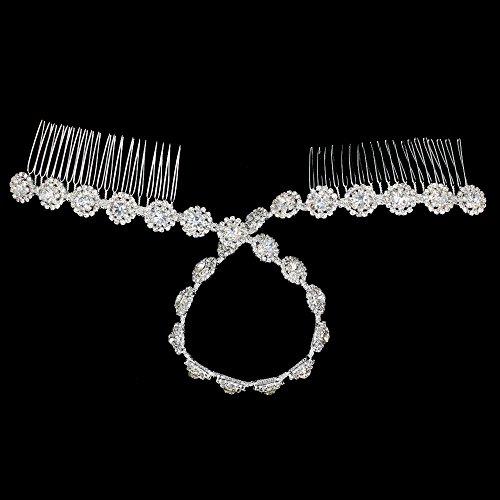SHINYTIME Stylish Crystal Rhinestone Hair Accessories Hair Fork for Wedding Bridal Headpiece Rose Sliver Bridal Headband