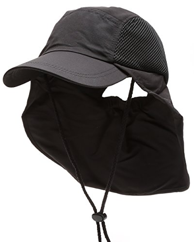 MIRMARU Summer Outdoor UPF Protection Safari Sun Sports Hat with Neck Flap and Chin Strap(Black) Black Flap Hat