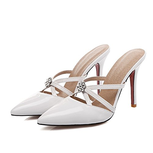 White Sandalias Corte Vestir Talones Zapatillas Mujer Slingback Alto Zapatos Dedo Pie Puntiagudo Del wqSq7UFP