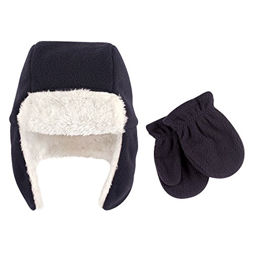 Hudson Baby Baby Fleece Trapper Hat and Mitten Set, Navy, 18-24 Months