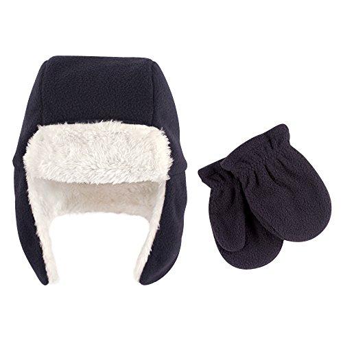 Hudson Baby Baby Fleece Trapper Hat and Mitten Set, Navy, 18-24 Months