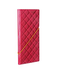 Woodmin Diamond Lattice 3D Premium Synthetic Leather Passport Holder ID Card Wallet for Travel(Hot red)
