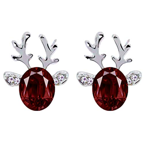 Christmas Earrings Gift! Amaping Luxury Three Dimensional Christmas Reindeer Antlers Earing Xmas Crystal Gemstone Earrings (Red)