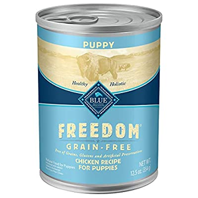 Blue Buffalo Freedom Grain Free Natural Puppy Wet Dog Food, Chicken 12.5oz cans (Pack of 12)