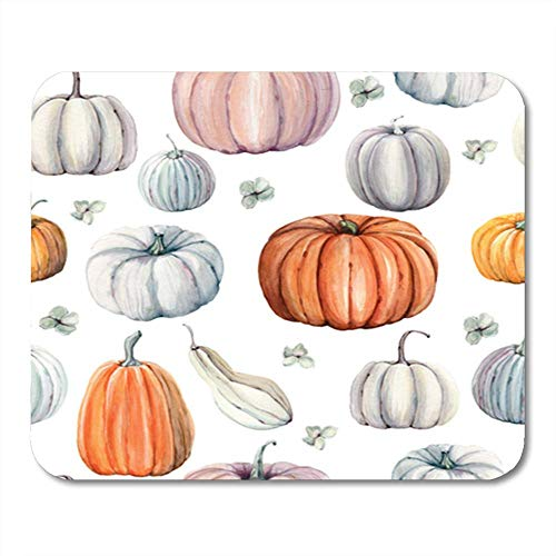 Gaming Mouse Pad Autumn Watercolor Pumpkins It is Perfect for Thanksgiving Halloween Design Recipe 7.18.7 Inches Decor Office Computer Accessories Nonslip Rubber Backing Mousepad Mouse Mat]()