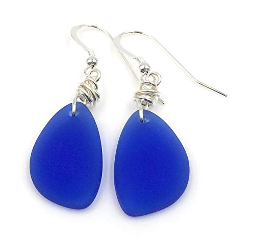Popular Nautical Blue Beach Sea Glass Earrings with Charming Handmade Silver Knot and Sterling Silver Hooks