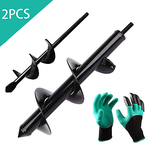 Gardening Auger Drill Bit Tool Set Attachment,2 Pcs Auger Spiral Drill Bit Post Hole Planting Tulips,plant Flower Bulb Auger,earth Auger For Cordless Drill Soil Posthole Digging Holes